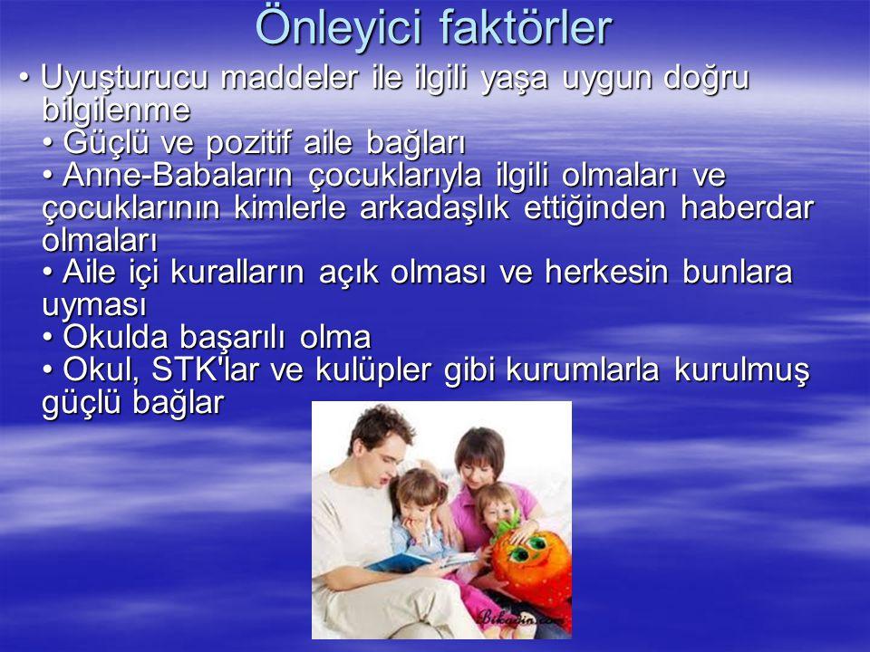 Önleyici faktörler Uyuşturucu maddeler ile ilgili yaşa uygun doğru bilgilenme Güçlü ve pozitif aile bağları Anne-Babaların çocuklarıyla ilgili olmalar