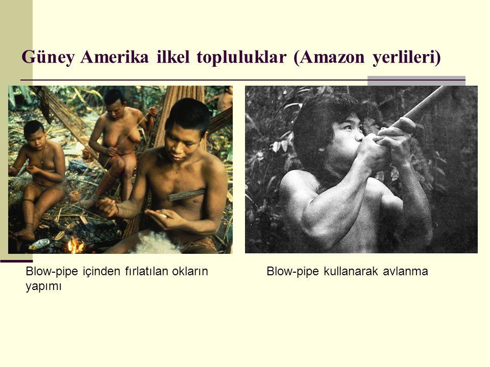Güney Amerika ilkel topluluklar (Amazon yerlileri) Blow-pipe kullanarak avlanmaBlow-pipe içinden fırlatılan okların yapımı