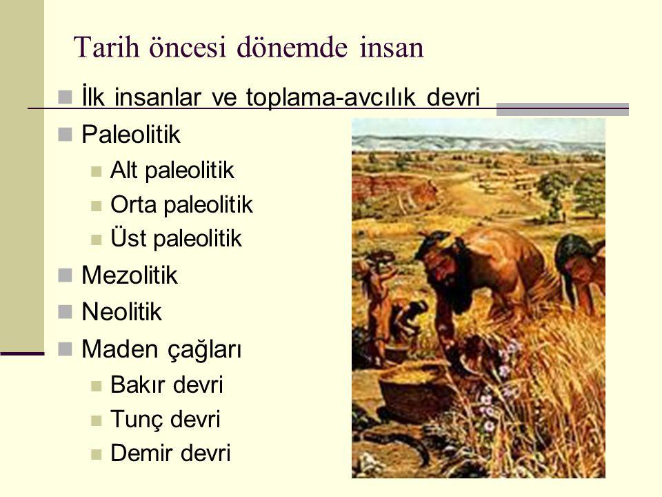 Tarih öncesi dönemde insan İlk insanlar ve toplama-avcılık devri Paleolitik Alt paleolitik Orta paleolitik Üst paleolitik Mezolitik Neolitik Maden çağ