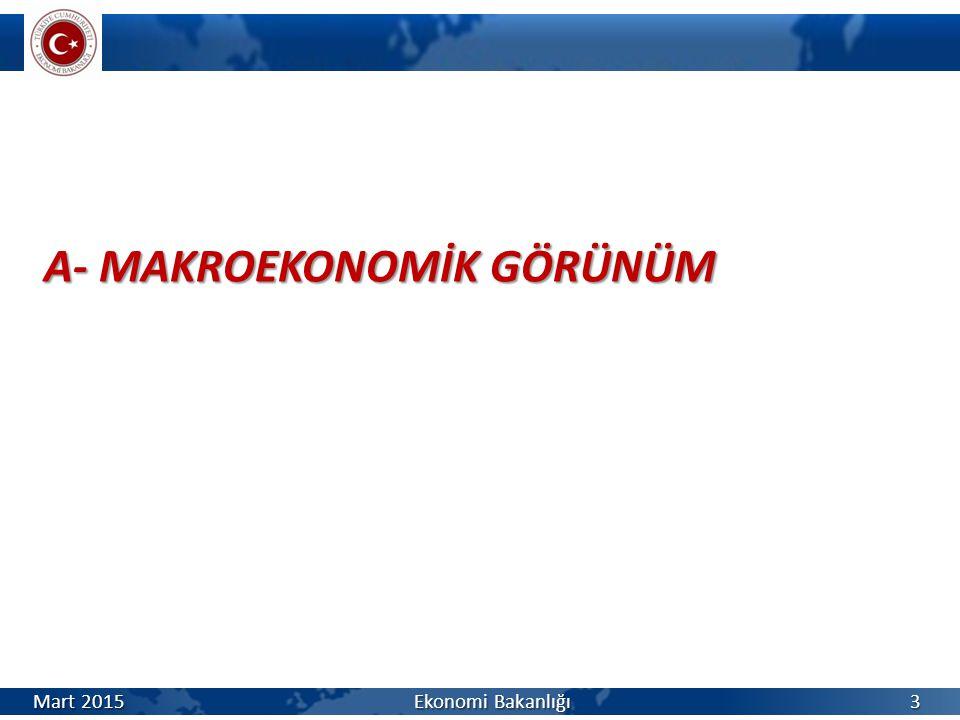 A- MAKROEKONOMİK GÖRÜNÜM Mart 2015 Ekonomi Bakanlığı 3