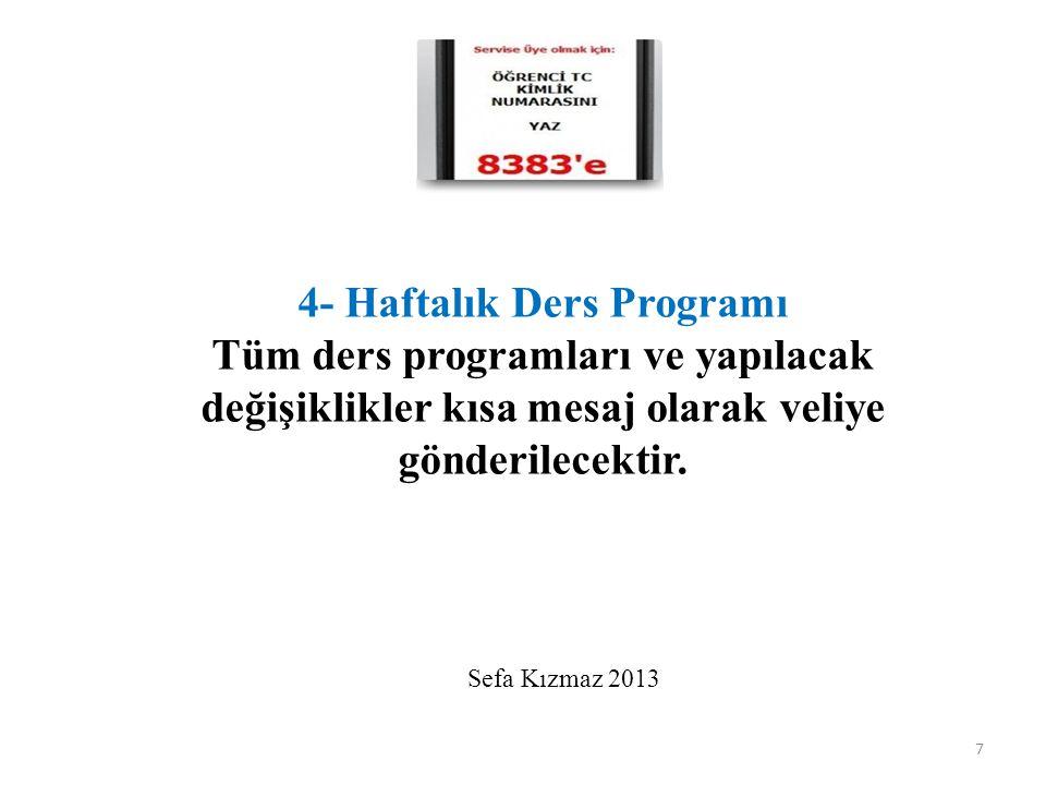 7 4- Haftalık Ders Programı Tüm ders programları ve yapılacak değişiklikler kısa mesaj olarak veliye gönderilecektir. Sefa Kızmaz 2013