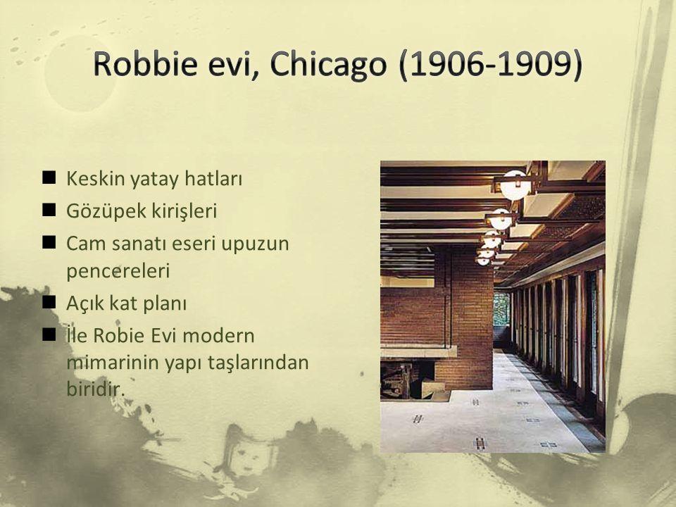 İç mekanda yaşama ve yemek yeme mekanları Wright'ın Praire stilindeki amacını örnekler.