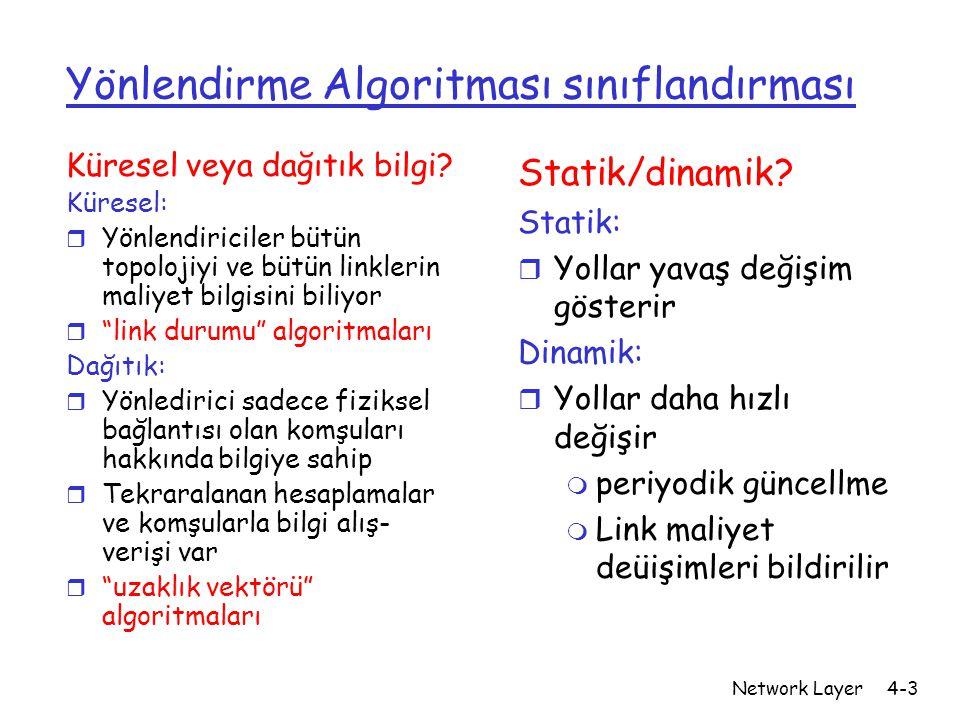 Network Layer4-4 Bir Link-Durumu Yönlendirme Algoritması Dijkstra algoritması r ağ topolojisi, link maliyetleri bütün düğümler tarafından biliniyor m link durum yayını ile gerçekleşir m Bütün düğümler aynı bilgiye sahip r Bir noktadan diğer bütün noktalara maliyeti hesaplar m O nokta için bir iletme tablosu sağlar r tekrarlı: k tekrardan sonra k tane hedefe en az maliyetli yolu bilir Notasyon:  c(x,y): x düğümünden y düğümüne link maliyeti(eğer doğrudan bağlantısı yoksa bu maliyet ∞'dur)  D(v): kaynaktan v hedefine şu andaki maliyet  p(v): kaynaktan hedef v ye giden yoldaki hedfe yakın en son nokta  N: en az maliyet yolu tam olarak bilinen noktalar