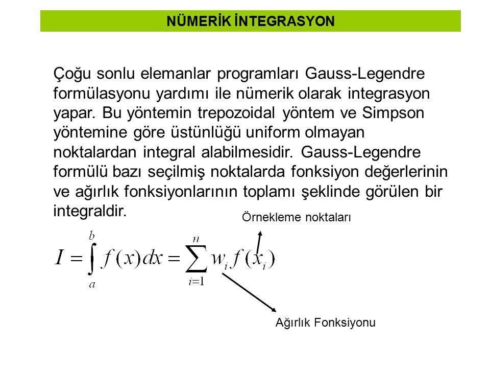 NÜMERİK İNTEGRASYON Çoğu sonlu elemanlar programları Gauss-Legendre formülasyonu yardımı ile nümerik olarak integrasyon yapar. Bu yöntemin trepozoidal