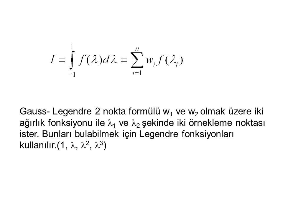 Gauss- Legendre 2 nokta formülü w 1 ve w 2 olmak üzere iki ağırlık fonksiyonu ile 1 ve 2 şekinde iki örnekleme noktası ister. Bunları bulabilmek için