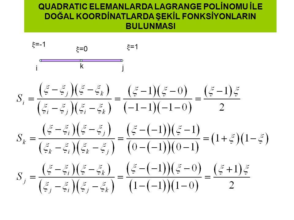 QUADRATIC ELEMANLARDA LAGRANGE POLİNOMU İLE DOĞAL KOORDİNATLARDA ŞEKİL FONKSİYONLARIN BULUNMASI  =1  =-1 i j  =0 k