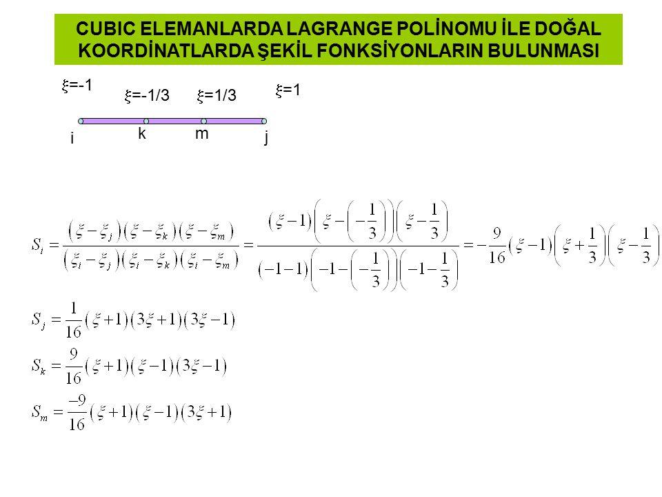  =1  =-1 i j  =-1/3 CUBIC ELEMANLARDA LAGRANGE POLİNOMU İLE DOĞAL KOORDİNATLARDA ŞEKİL FONKSİYONLARIN BULUNMASI  =1/3 km