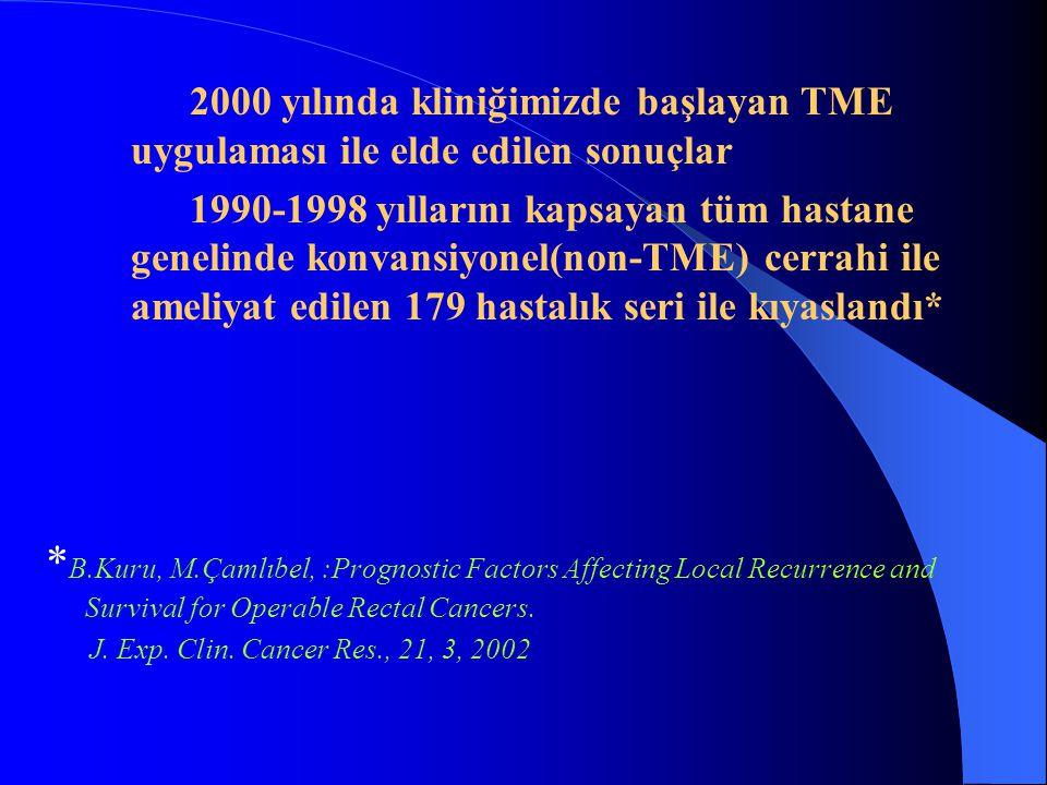 2000 yılında kliniğimizde başlayan TME uygulaması ile elde edilen sonuçlar 1990-1998 yıllarını kapsayan tüm hastane genelinde konvansiyonel(non-TME) c