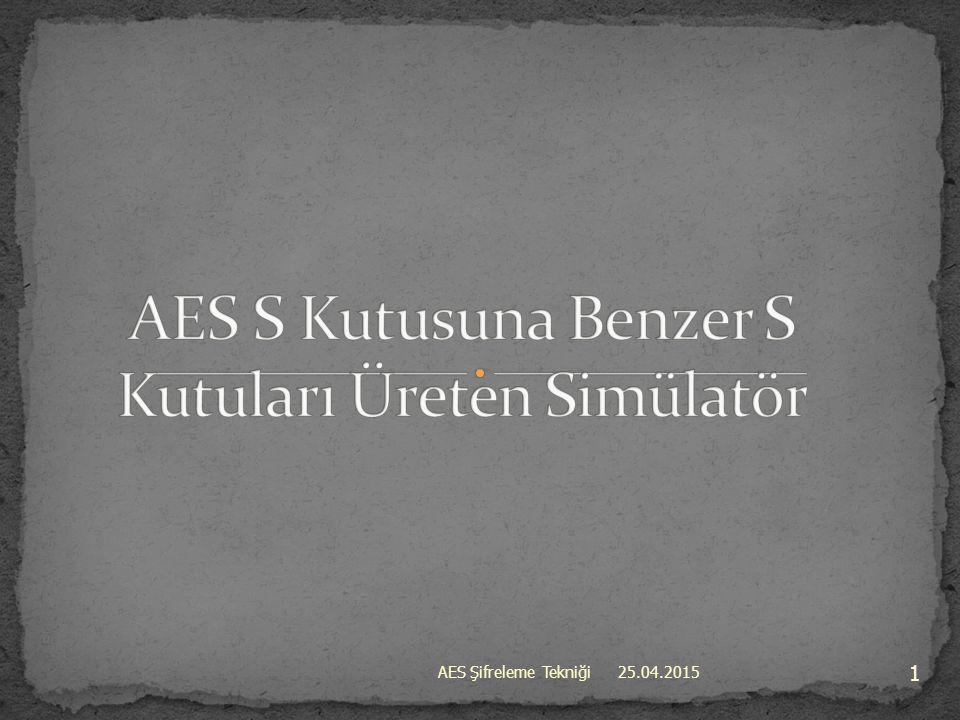 25.04.2015 22 AES Şifreleme Tekniği