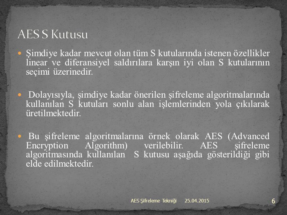 25.04.2015 17 AES Şifreleme Tekniği