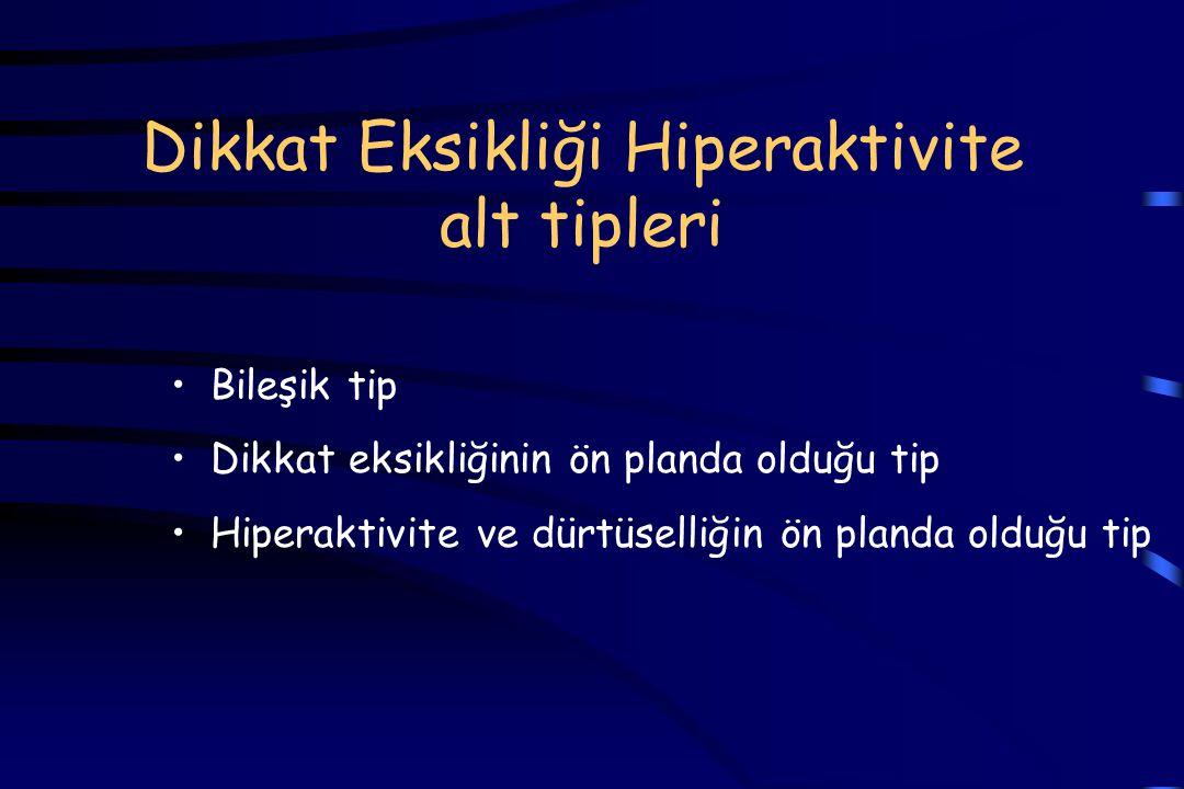 Dikkat Eksikliği Hiperaktivite alt tipleri Bileşik tip Dikkat eksikliğinin ön planda olduğu tip Hiperaktivite ve dürtüselliğin ön planda olduğu tip
