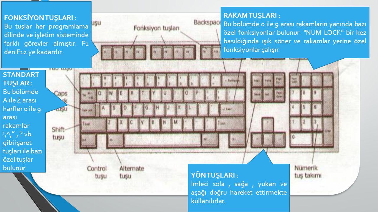 FONKSİYON TUŞLARI : Bu tuşlar her programlama dilinde ve işletim sisteminde farklı görevler almıştır. F1 den F12 ye kadardır. STANDART TUŞLAR : Bu böl
