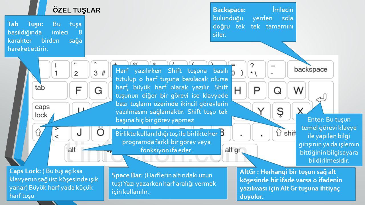 ÖZEL TUŞLAR Backspace: İmlecin bulunduğu yerden sola doğru tek tek tamamını siler. Caps Lock: ( Bu tuş açıksa klavyenin sağ üst köşesinde ışık yanar)