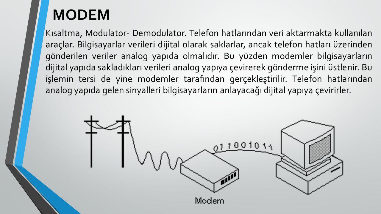 MODEM Kısaltma, Modulator- Demodulator. Telefon hatlarından veri aktarmakta kullanılan araçlar. Bilgisayarlar verileri dijital olarak saklarlar, ancak