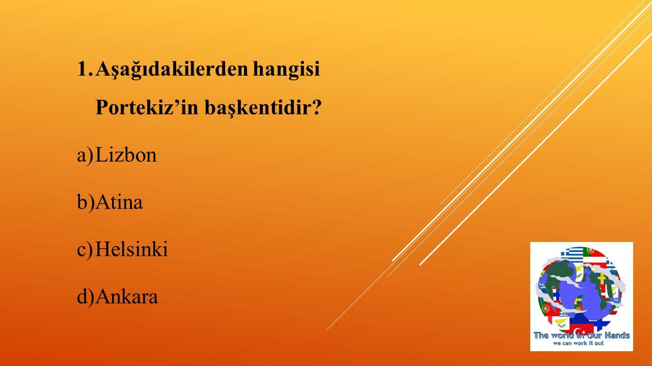 7) Aşağıdakilerden hangisi Güney Kıbrıs'ın başkentidir? a)Paris b)Atina c)Lefkoşa d)Roma