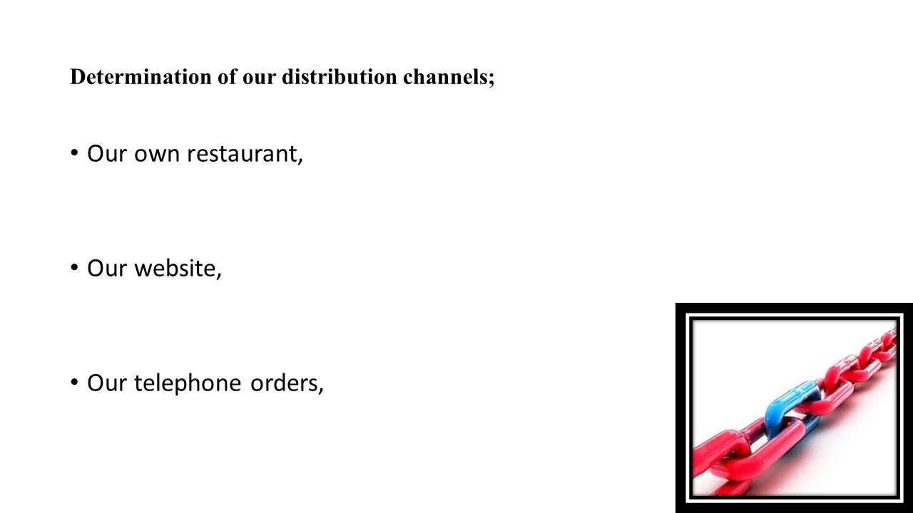 Determination of our distribution channels; Our own restaurant, Our website, Our telephone orders,