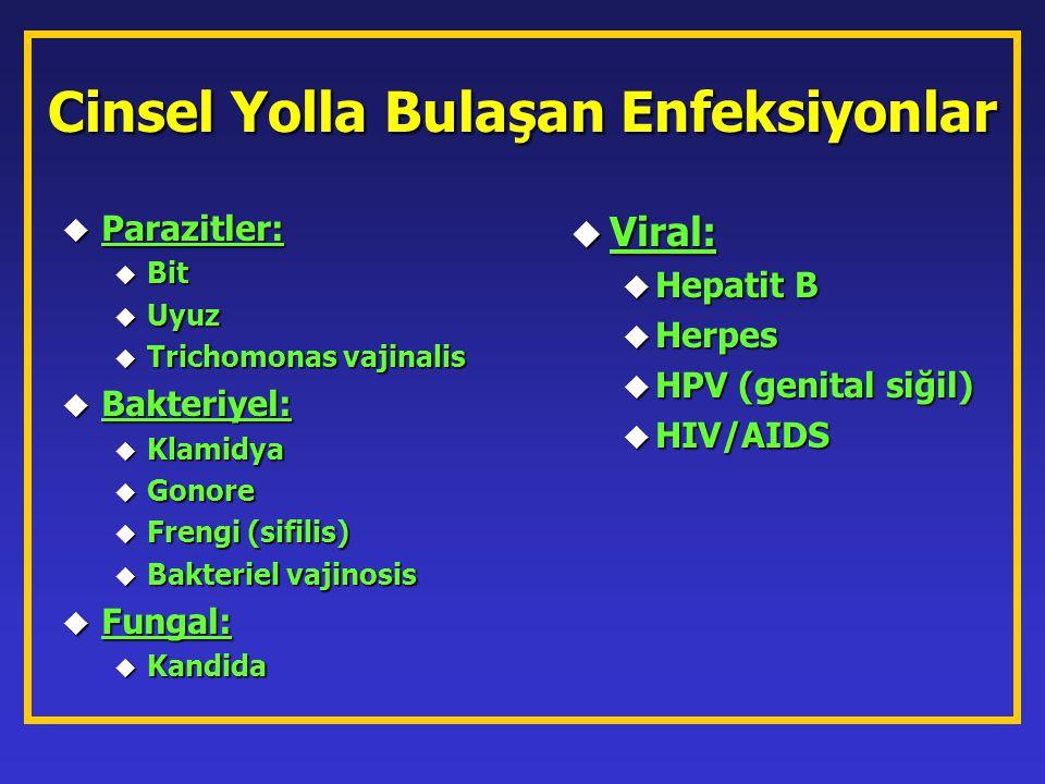 Cinsel Yolla Bulaşan Enfeksiyonlar u Parazitler: u Bit u Uyuz u Trichomonas vajinalis u Bakteriyel: u Klamidya u Gonore u Frengi (sifilis) u Bakteriel