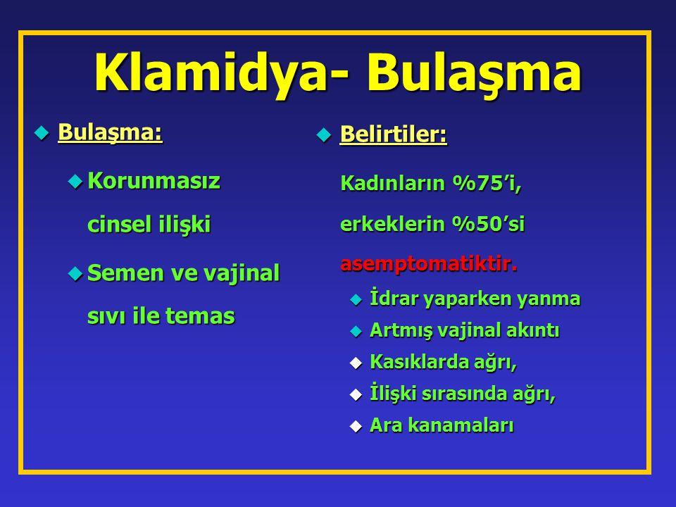 Klamidya- Bulaşma u Bulaşma: u Korunmasız cinsel ilişki u Semen ve vajinal sıvı ile temas u Belirtiler: Kadınların %75'i, erkeklerin %50'si asemptomat