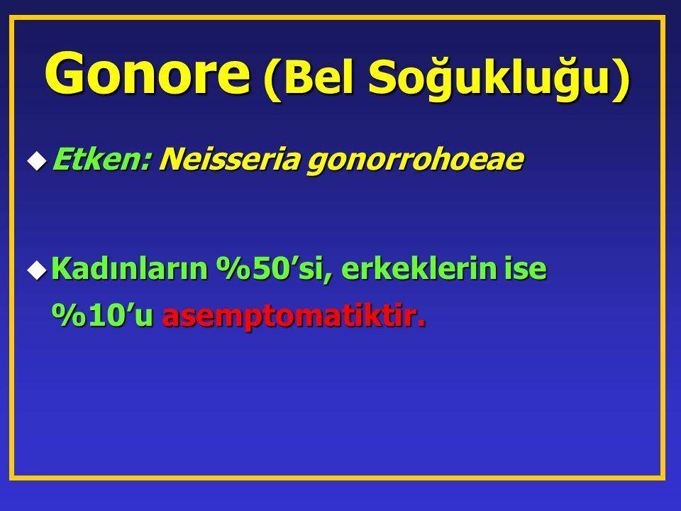 Gonore (Bel Soğukluğu) u Etken: Neisseria gonorrohoeae u Kadınların %50'si, erkeklerin ise %10'u asemptomatiktir.