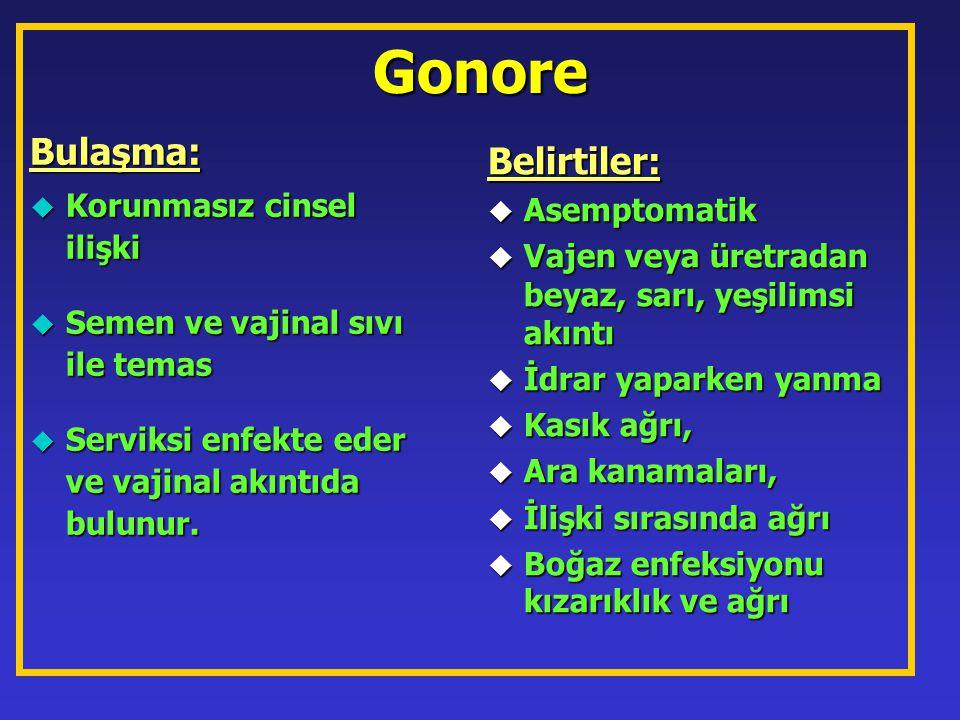 Gonore Bulaşma: u Korunmasız cinsel ilişki u Semen ve vajinal sıvı ile temas u Serviksi enfekte eder ve vajinal akıntıda bulunur. Belirtiler: u Asempt