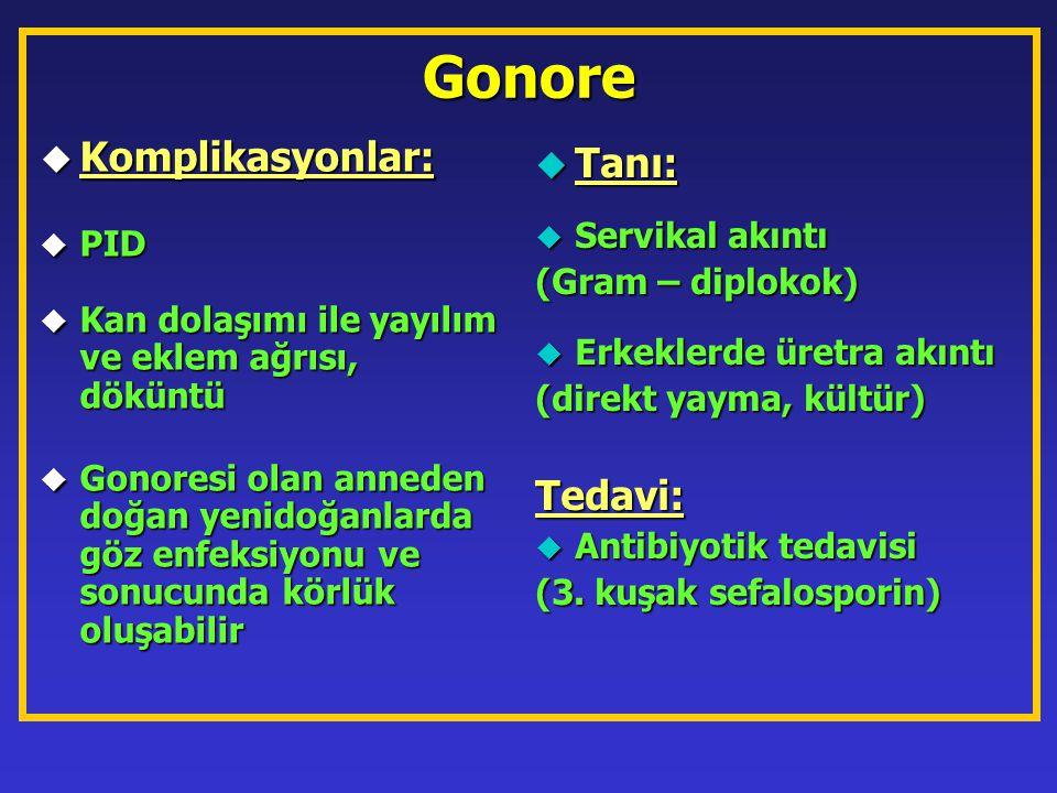 Gonore  Komplikasyonlar: u PID u Kan dolaşımı ile yayılım ve eklem ağrısı, döküntü u Gonoresi olan anneden doğan yenidoğanlarda göz enfeksiyonu ve so