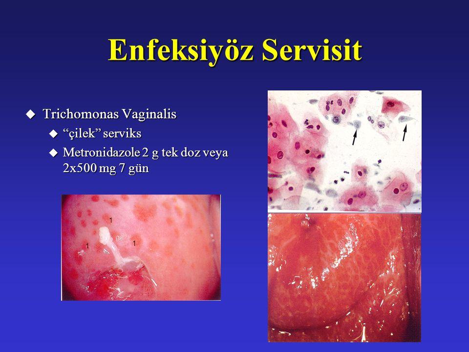 "Enfeksiyöz Servisit u Trichomonas Vaginalis u ""çilek"" serviks u Metronidazole 2 g tek doz veya 2x500 mg 7 gün"