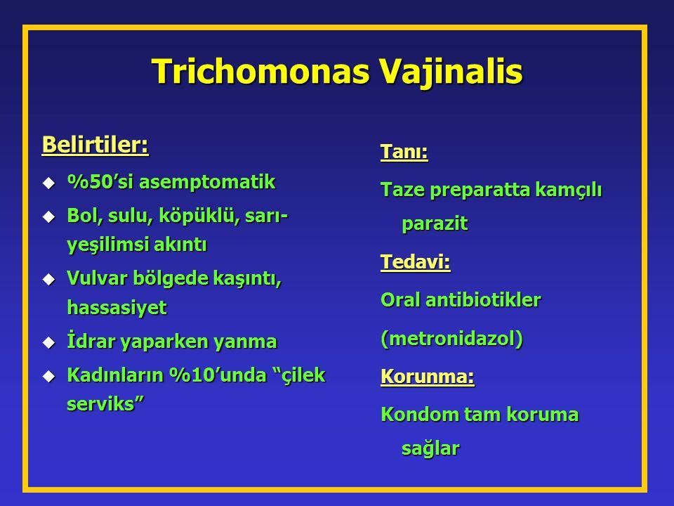 Trichomonas Vajinalis Belirtiler: u %50'si asemptomatik u Bol, sulu, köpüklü, sarı- yeşilimsi akıntı u Vulvar bölgede kaşıntı, hassasiyet u İdrar yapa