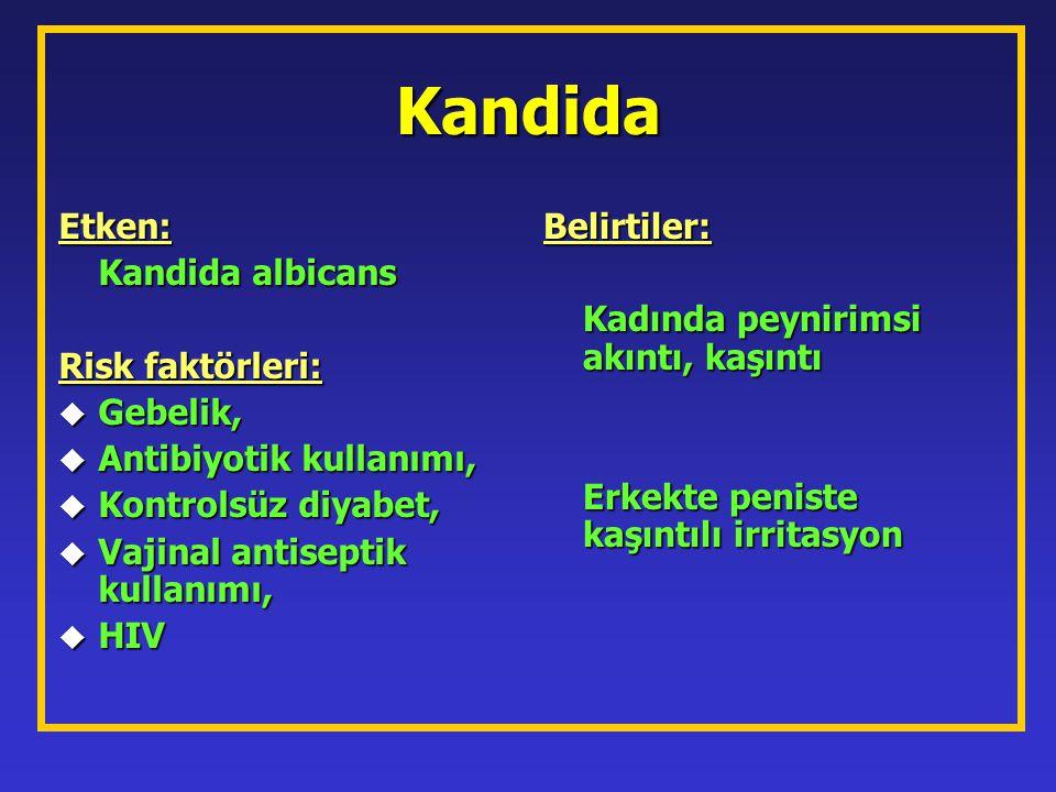 Kandida Etken: Kandida albicans Risk faktörleri: u Gebelik, u Antibiyotik kullanımı, u Kontrolsüz diyabet, u Vajinal antiseptik kullanımı, u HIV Belir