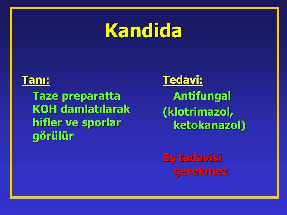 Kandida Tanı: Taze preparatta KOH damlatılarak hifler ve sporlar görülür Tedavi: Antifungal (klotrimazol, ketokanazol) Eş tedavisi gerekmez