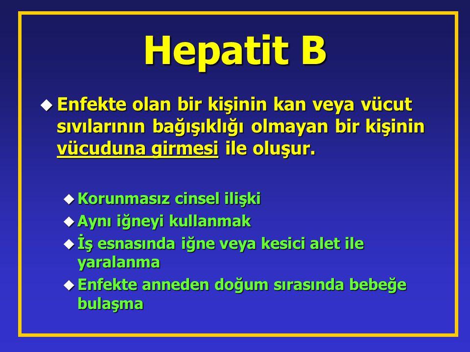 Hepatit B u Enfekte olan bir kişinin kan veya vücut sıvılarının bağışıklığı olmayan bir kişinin vücuduna girmesi ile oluşur. u Enfekte olan bir kişini