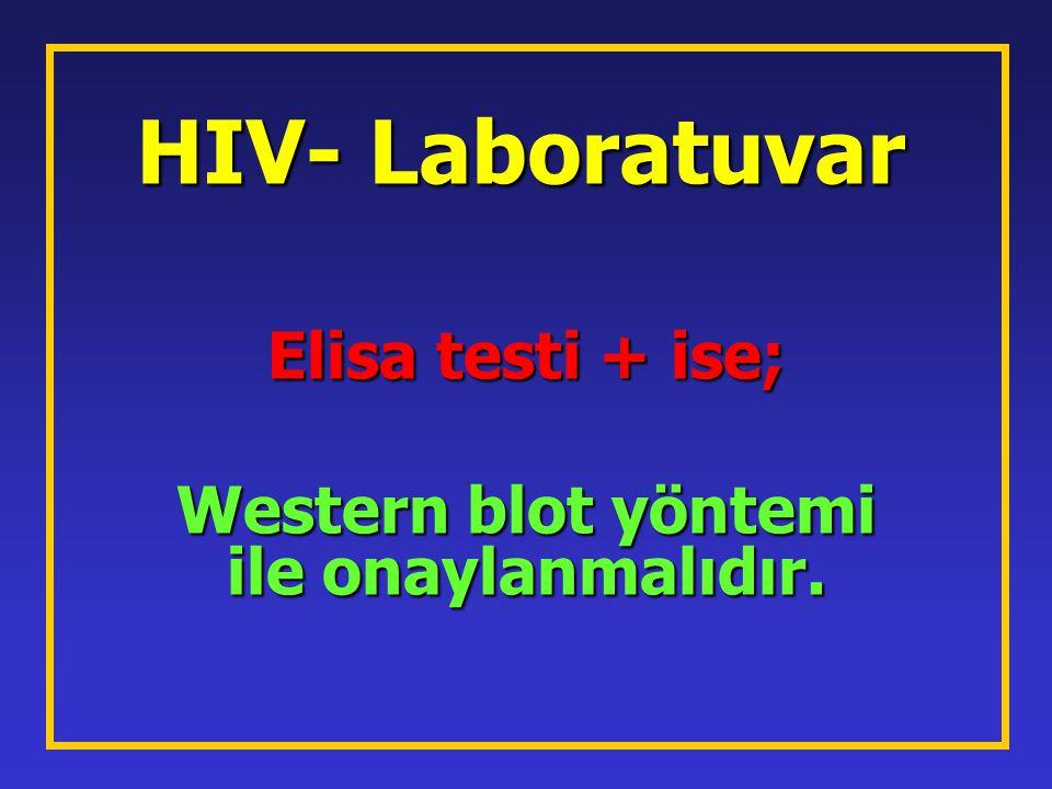 HIV- Laboratuvar Elisa testi + ise; Western blot yöntemi ile onaylanmalıdır.