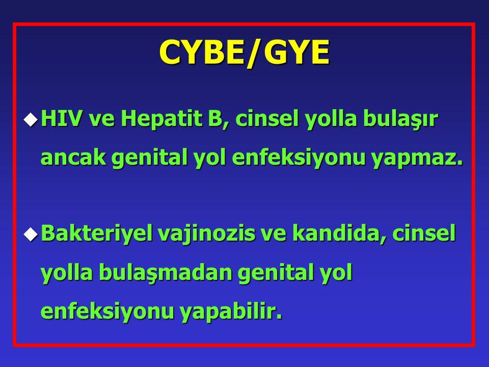 CYBE/GYE u HIV ve Hepatit B, cinsel yolla bulaşır ancak genital yol enfeksiyonu yapmaz. u Bakteriyel vajinozis ve kandida, cinsel yolla bulaşmadan gen