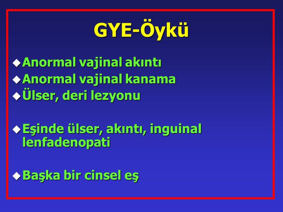 GYE-Öykü u Anormal vajinal akıntı u Anormal vajinal kanama u Ülser, deri lezyonu u Eşinde ülser, akıntı, inguinal lenfadenopati u Başka bir cinsel eş