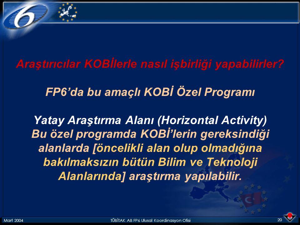 Mart 2004TÜBİTAK AB FP6 Ulusal Koordinasyon Ofisi 20 Araştırıcılar KOBİlerle nasıl işbirliği yapabilirler? FP6'da bu amaçlı KOBİ Özel Programı Yatay A