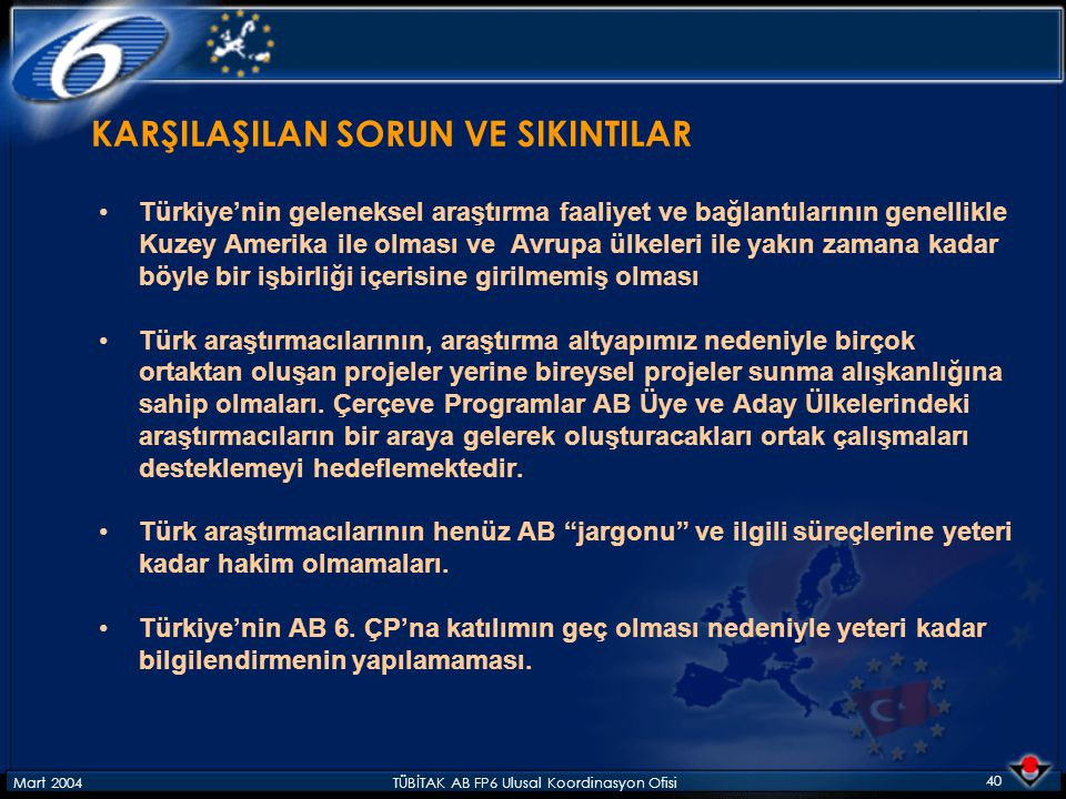 Mart 2004TÜBİTAK AB FP6 Ulusal Koordinasyon Ofisi 40 KARŞILAŞILAN SORUN VE SIKINTILAR Türkiye'nin geleneksel araştırma faaliyet ve bağlantılarının gen