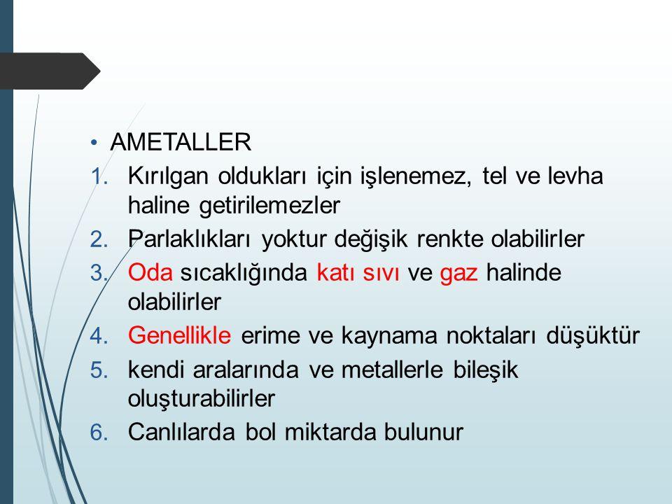 PERİYODİK CETVEL ELEMENTLERİ VE ÖZELLİKLERİ METALLER 1.