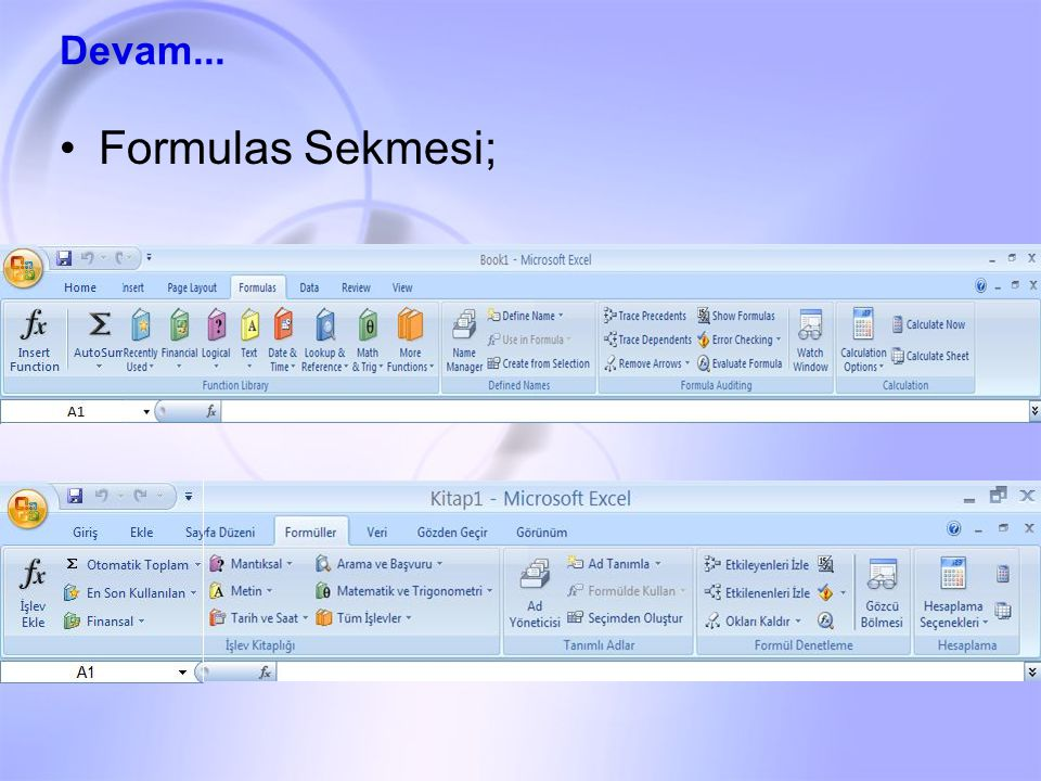 Formulas Sekmesi; Devam...