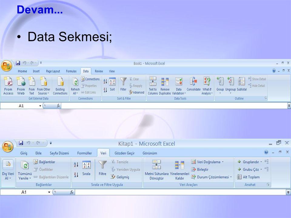 Data Sekmesi; Devam...