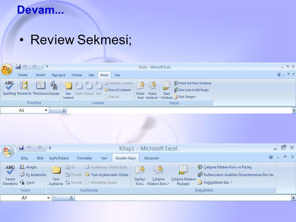 Review Sekmesi; Devam...