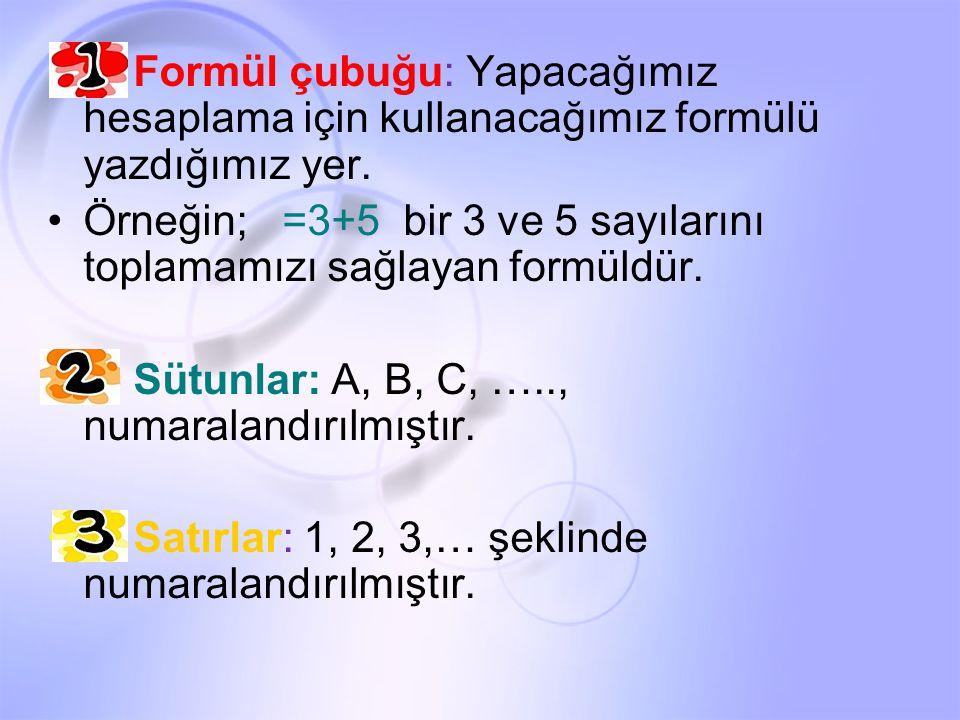 1- Formül çubuğu: Yapacağımız hesaplama için kullanacağımız formülü yazdığımız yer. Örneğin; =3+5 bir 3 ve 5 sayılarını toplamamızı sağlayan formüldür