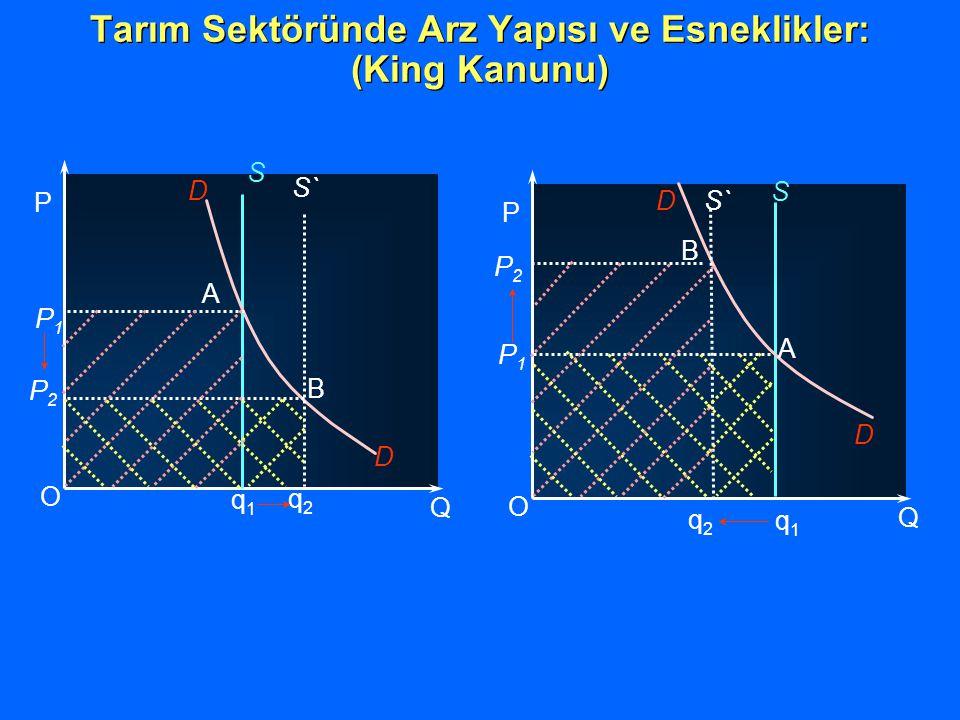 Tarım Sektöründe Arz Yapısı ve Esneklikler: (King Kanunu) P2P2 P1P1 q1q1 O Q P D D S S` B A q2q2 P2P2 P1P1 q1q1 O Q P D D S B A q2q2