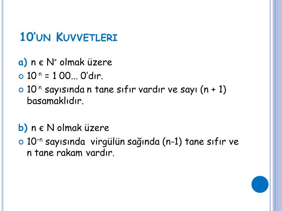 10' UN K UVVETLERI a) n є N + olmak üzere 10 n = 1 00... 0'dır. 10 n sayısında n tane sıfır vardır ve sayı (n + 1) basamaklıdır. b) n є N olmak üzere