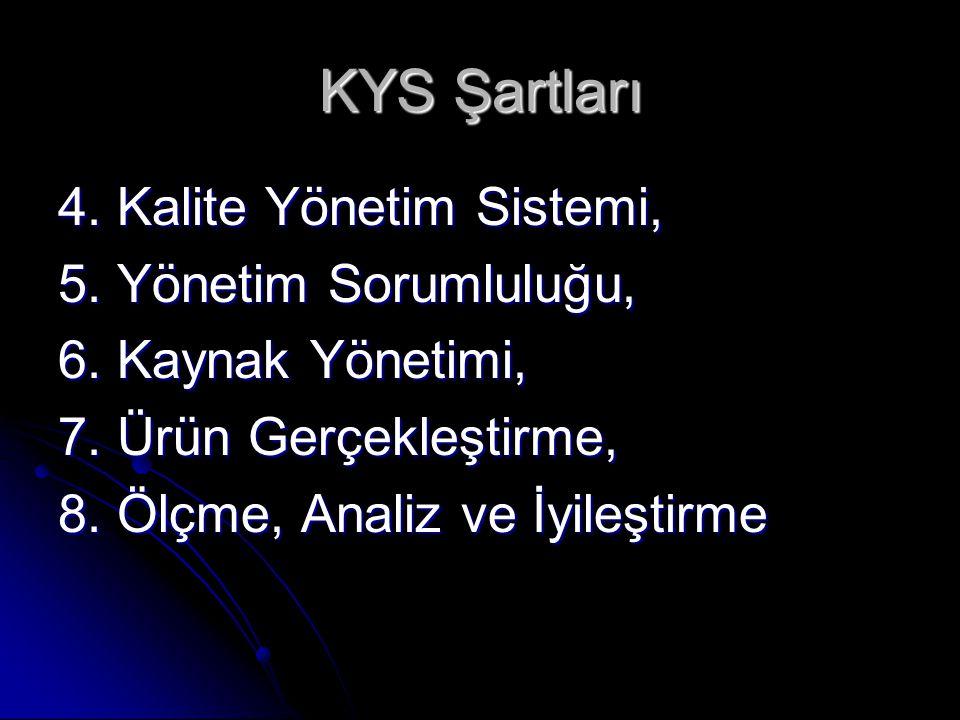 KYS Şartları 4. Kalite Yönetim Sistemi, 5. Yönetim Sorumluluğu, 6. Kaynak Yönetimi, 7. Ürün Gerçekleştirme, 8. Ölçme, Analiz ve İyileştirme
