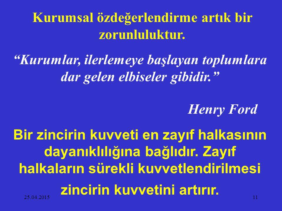 """25.04.201511 Kurumsal özdeğerlendirme artık bir zorunluluktur. """"Kurumlar, ilerlemeye başlayan toplumlara dar gelen elbiseler gibidir."""" Henry Ford Bir"""