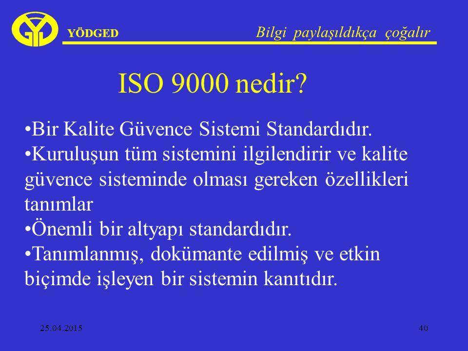 25.04.201540 YÖDGED Bilgi paylaşıldıkça çoğalır ISO 9000 nedir? Bir Kalite Güvence Sistemi Standardıdır. Kuruluşun tüm sistemini ilgilendirir ve kalit