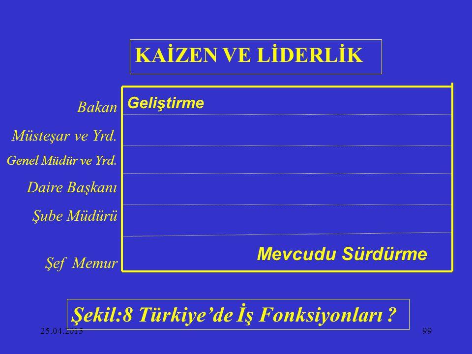 25.04.201599 Bakan Müsteşar ve Yrd. Genel Müdür ve Yrd. Daire Başkanı Şube Müdürü Şef Memur Geliştirme Mevcudu Sürdürme Şekil:8 Türkiye'de İş Fonksiyo