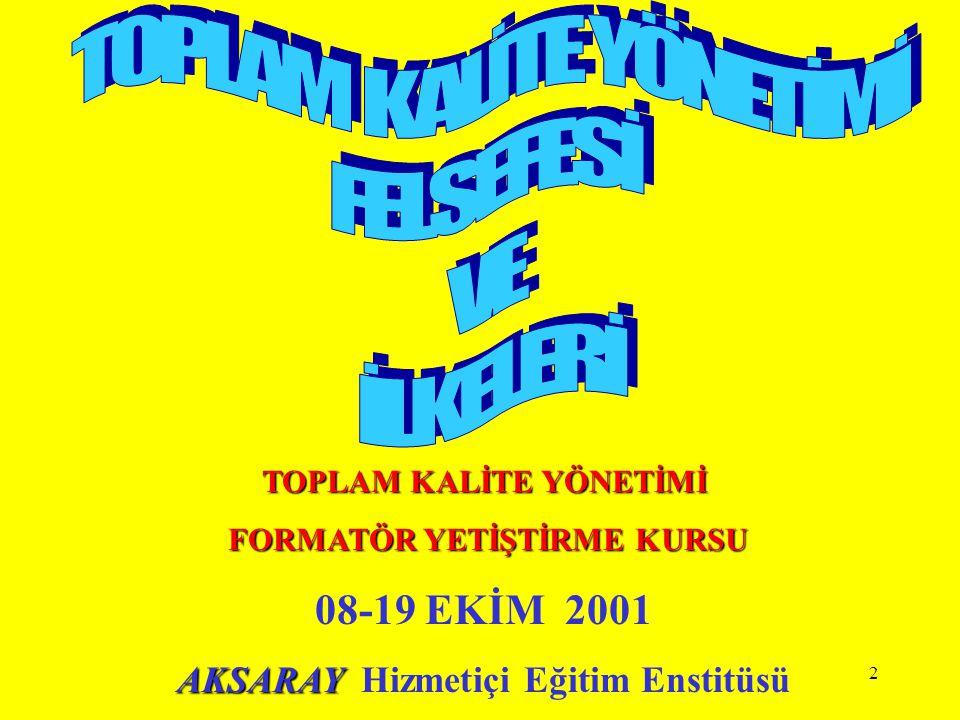 43 TOPLAM KALİTE YÖNETİMİNİN TEMEL İLKELERİ