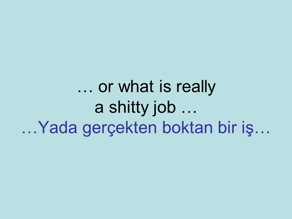 … or what is really a shitty job … …Yada gerçekten boktan bir iş…