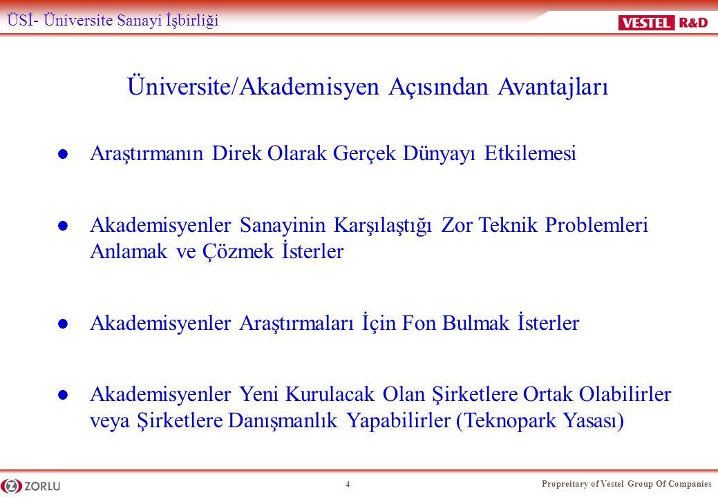 Propreitary of Vestel Group Of Companies 4 ÜSİ- Üniversite Sanayi İşbirliği Üniversite/Akademisyen Açısından Avantajları l Araştırmanın Direk Olarak G
