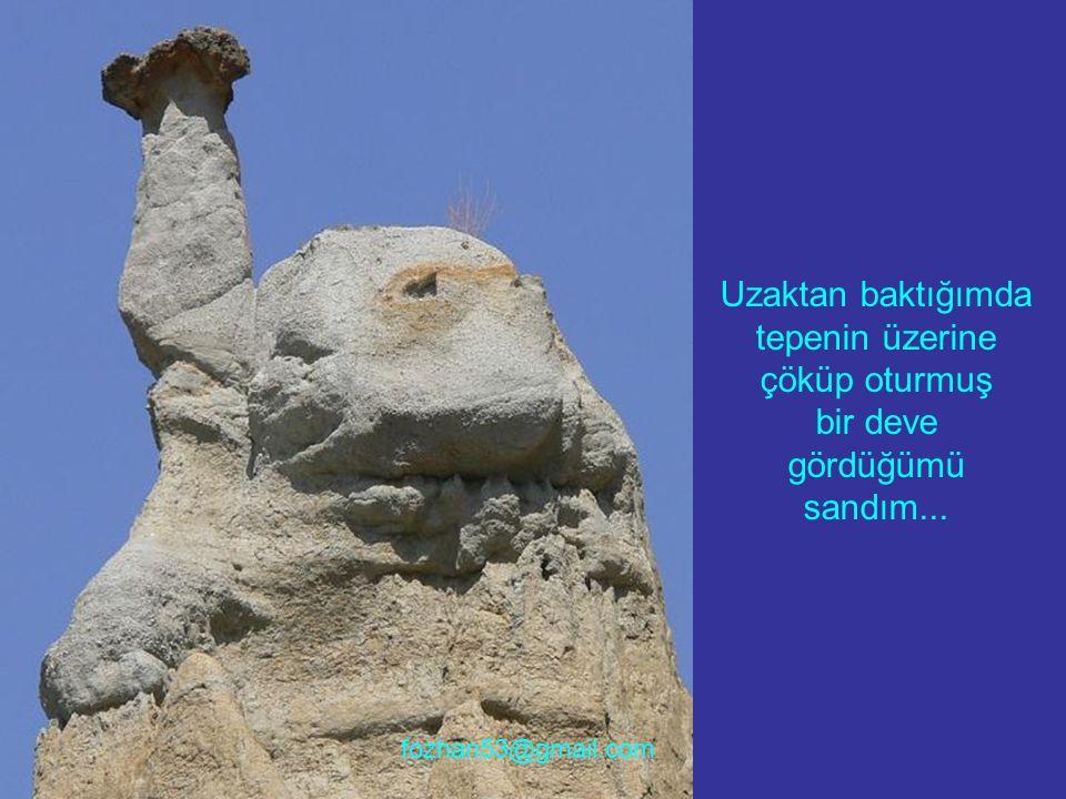 Uzaktan baktığımda tepenin üzerine çöküp oturmuş bir deve gördüğümü sandım... fozhan53@gmail.com